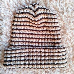 Striped knit beanie fold up hat neutral co…